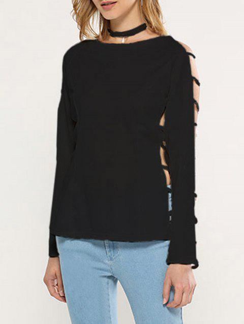 Stylish Round Collar Hollow Sleeve Pure Color Women Knitted Blouse - BLACK M