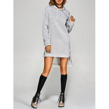 Casual Hooded Long Sleeve Pure Color Slit Design Women Dress