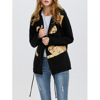Fashion Hooded Long Sleeve Print Drawstring Zipper Type Women Coat