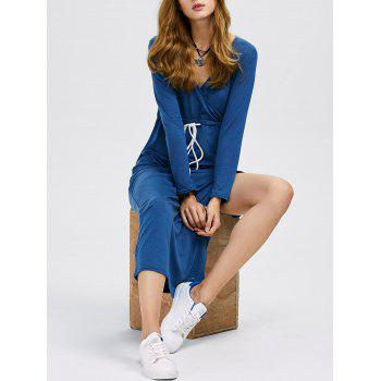 Casual Plunging Neck Long Sleeve Drawstring Slit Design Women Dress