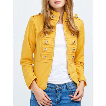 Fashion Stand Collar Long Sleeve Double Breast Button Decoration Women Coat