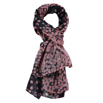 Fashionable Dot Print Color Block Ultrathin Scarf for Women