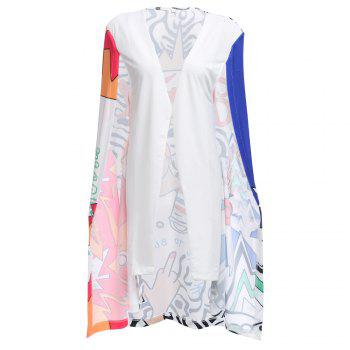 Novelty Sleeveless Collarless Printed Cloak Type Coat for Women