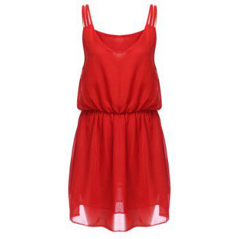 Casual Sleeveless V Neck Spaghetti Strap Chiffon Dress for Women