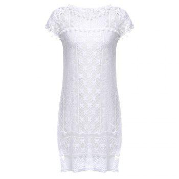 Elegant Short Sleeve Round Collar White Hollow Lace Dress for Women