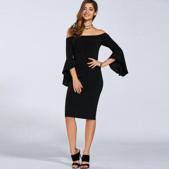 Brief Half Trumpet Sleeve Off The Shoulder Knitted Sheath Dress for Women - M M