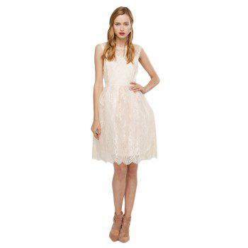 Stylish Round Collar Sleeveless See-through A-line Pure Color Women Lace Dress