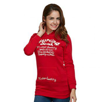 Stylish Hooded Letter Print Long Sleeve Pocket Decoration Sheath Women Hoodie