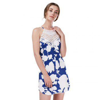 Bohemian Sleeveless Round Collar Hollow Lace Design Backless Dress for Women