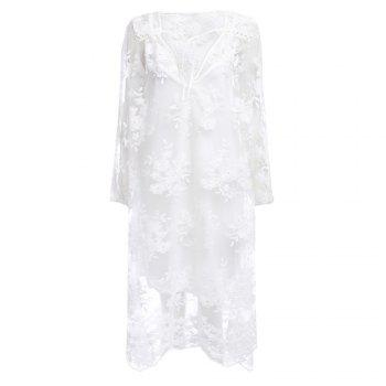 Fashion V-neck 3/4 Sleeve See-through Embroidery Lace Women Dress