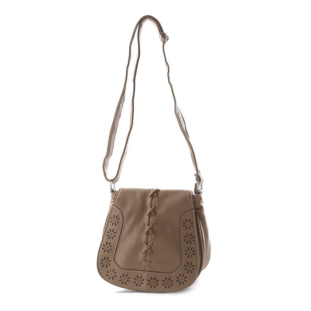 Fashion Women Mini Round Handbag Old Classical Crossbody Bag - KHAKI