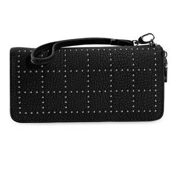 Chic Rivet PU Leather Zip Around Women Clutch Bag