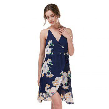 Trendy Sleeveless V Neck Floral Print Criss Cross Backless Chiffon Slip Dress for Women