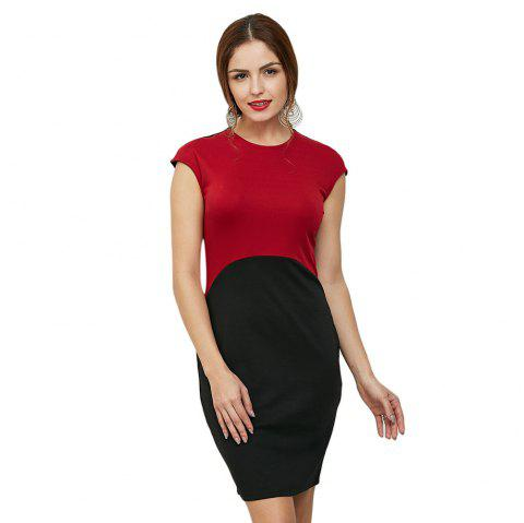 2018 Brief Short Sleeve Round Collar Color Block Dress For Women Red
