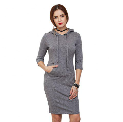 Casual Half Sleeve Pocket Type Pure Color Pullover Hoodie for Women - GRAY M