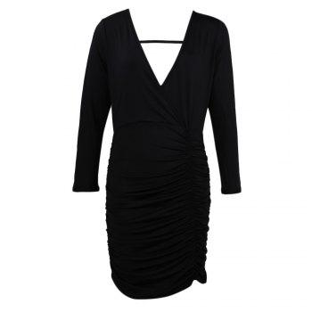 Sexy Plunging Long Sleeve Backless Draped Pure Color Women Dress