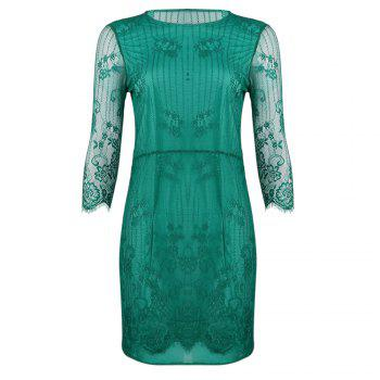 Stylish Round Collar Three Quarter Sleeve See-through Pure Color Women Dress