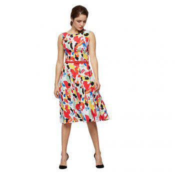 Fashion Round Collar Sleeveless Allover Print Women Dress with Belt