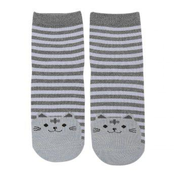10 Pairs Cartoon Cat Stripe Design Cotton Socks for Girls -  GRAY