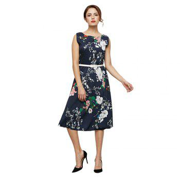 Trendy Round Collar Sleeveless Print Women Dress with Belt