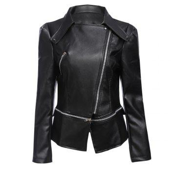 Stylish Turn-down Collar Long Sleeve Zipper Rivet Decoration PU Leather Women Jacket
