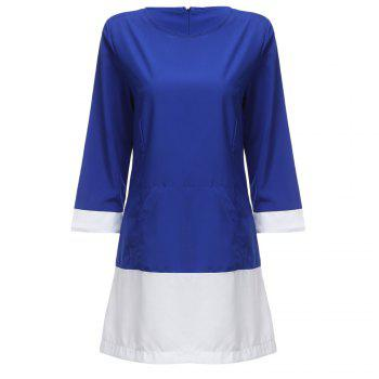 Fashionable Round Collar Long Sleeve Color Block Spliced Women Dress