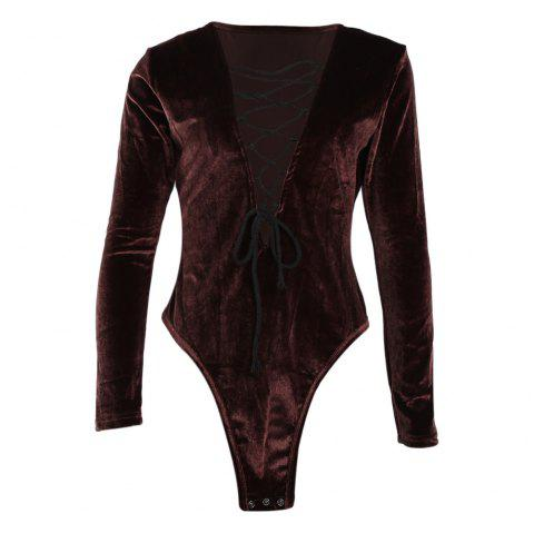 0a827af3c6 41% OFF  2019 Sexy Criss-cross Lace Up Deep V-neck Long Sleeve High ...