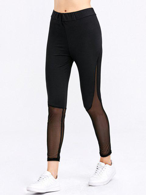 Fashion See-through Sheath Sports Bottom Spliced Women Pants - BLACK M