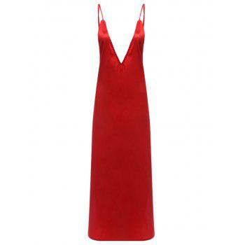 Sexy Plunging Spaghetti Strap Backless Pure Color High Slit Women Evening Dress