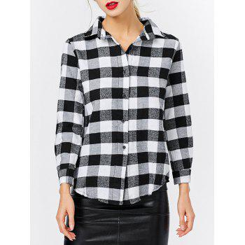 Fashion Turn-down Collar Long Sleeve Plaid Pattern Women T-shirt