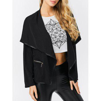 Fashion Turn-down Collar Zipper Pocket Design Women Coat