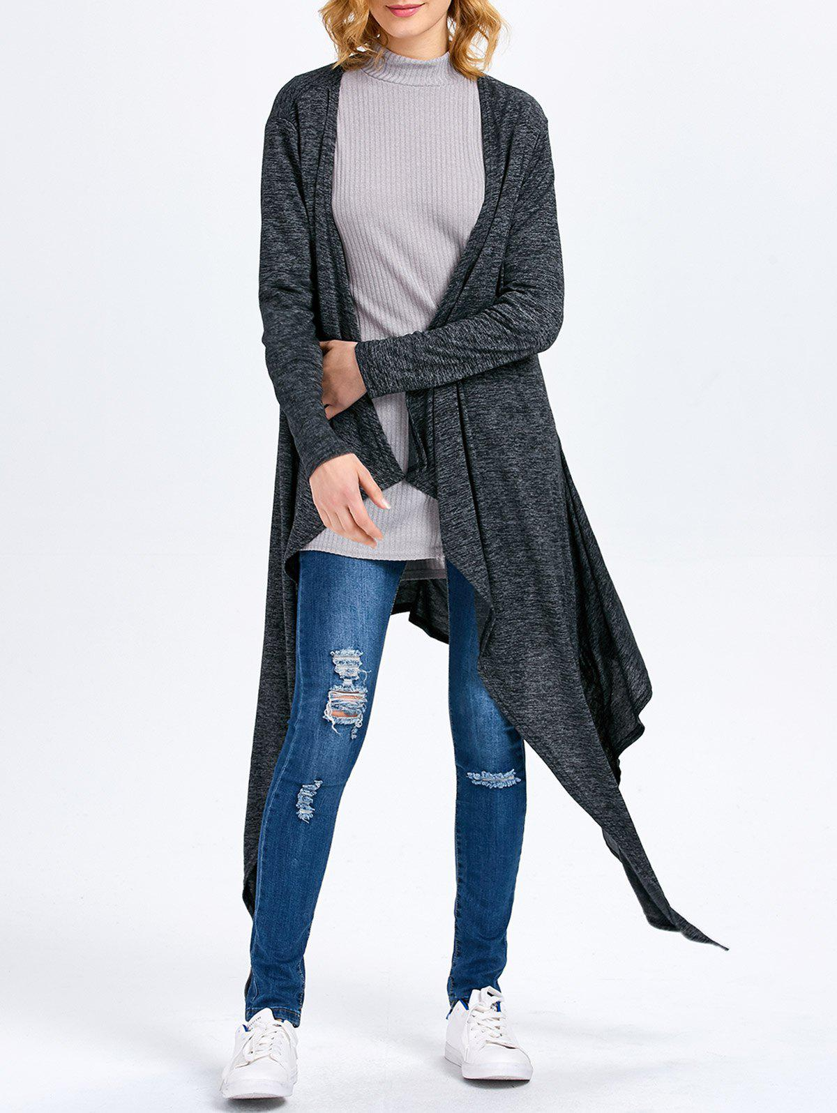 Long Sleeve Collarless Hollow Asymmetrical Knit Cardigan - SMOKY GRAY M