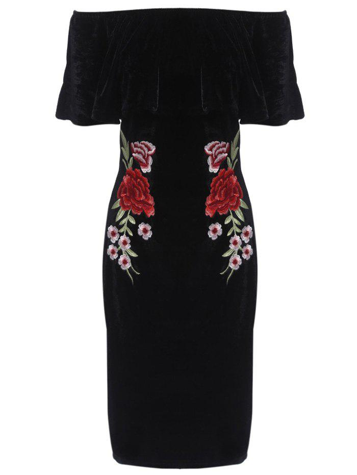 Off The Shoulder Bodycon Flower Embroidery Dress - BLACK M