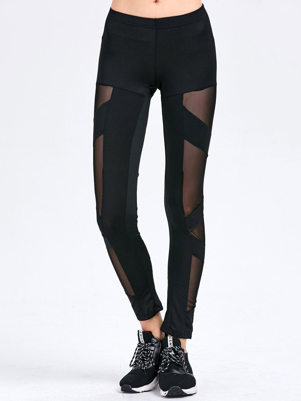 Stylish See-through Spliced Tight Sport Leggings for WomenWomen<br><br><br>Size: L<br>Color: BLACK