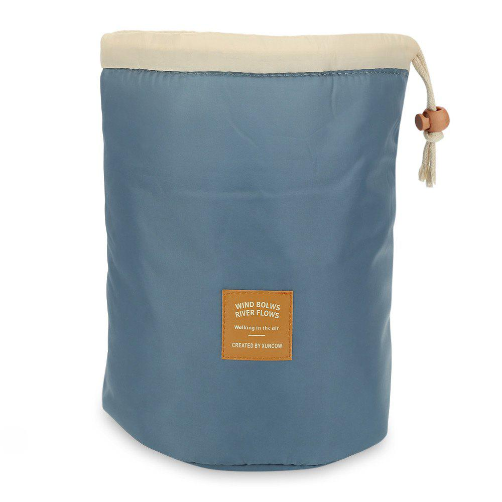 Barrel Travel Cosmetics Polyamide High Capacity Drum Cord Elegant Organizer Storage Bag - BLUE