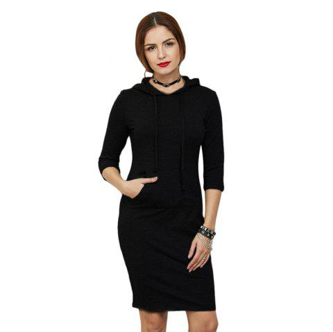 Casual Half Sleeve Pocket Type Pure Color Pullover Hoodie for Women - BLACK 2XL
