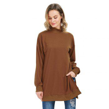 Trendy Long Sleeve Turtleneck Slit Design Brown Sweatshirt for Women