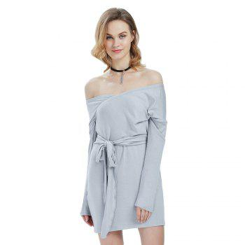 Sexy Long Sleeve Off The Shoulder Belt Design Sweater Dress for Women