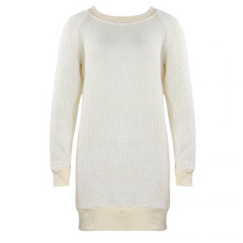 Casual Solid Loose Sweater Long Sleeves Backless Pullover