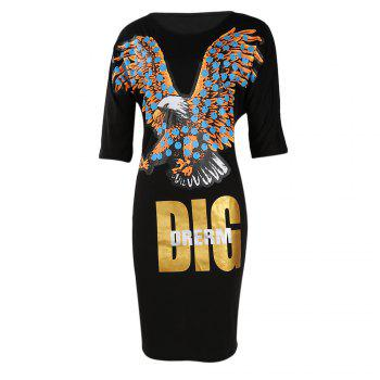 Casual Eagle Dig Drerm Print Half Sleeve Loose Dress