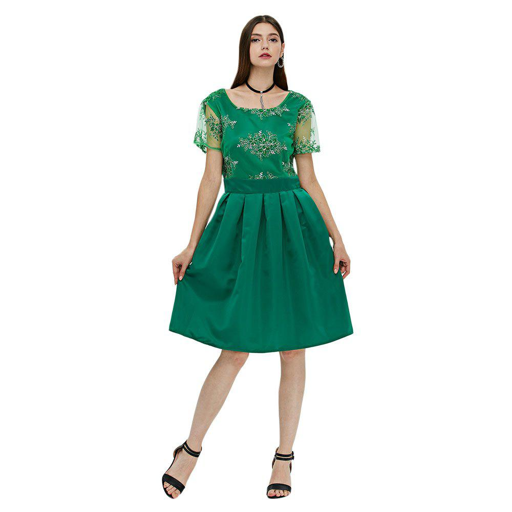 Floral Print Lace Insert Knee Length Dress - GREEN L