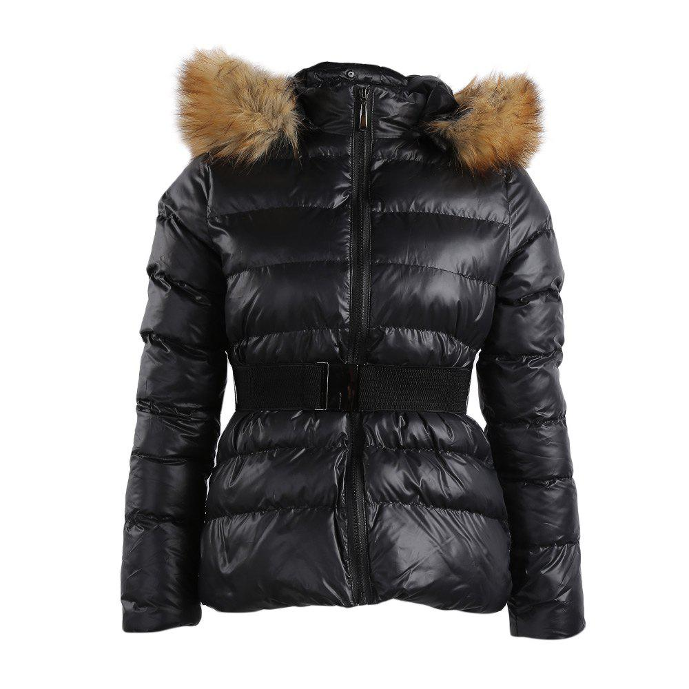 Fashionable Hooded Long Sleeve Pure Color Sheath Women Down CoatWomen<br><br><br>Size: 2XL<br>Color: BLACK