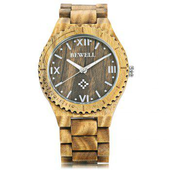 Bewell ZS - W065A Wood Men Quartz Watch Roman Numeral Scales - VERAWOOD