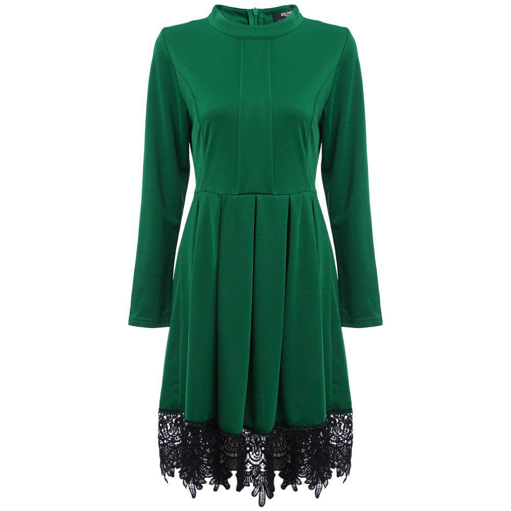 Old Classical Round Collar Long Sleeve Lace Spliced Color Women Dress фото