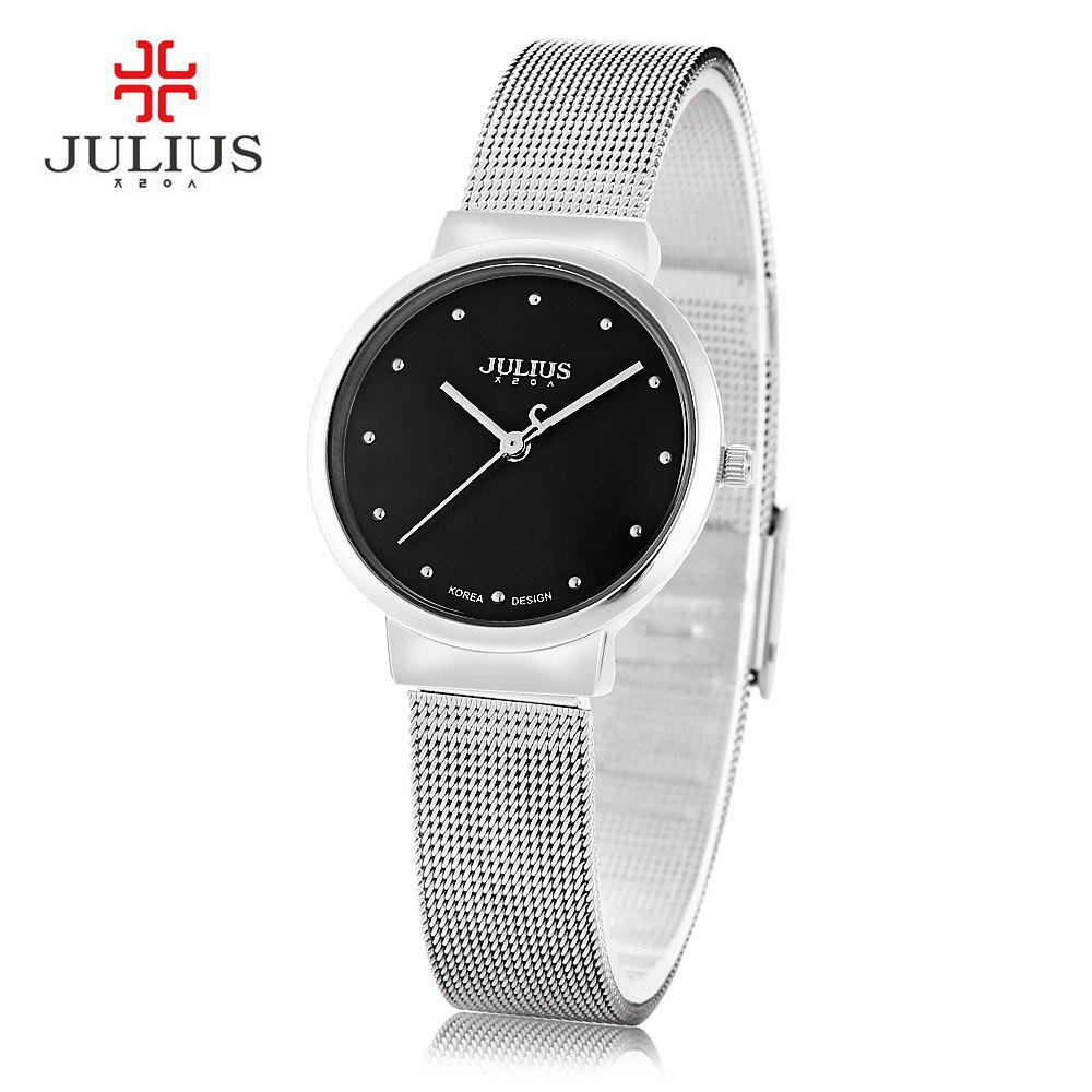 Julius JA - 426L Female Ultrathin Stainless Steel Mesh Band Quartz Wrist Watch - SILVER/BLACK