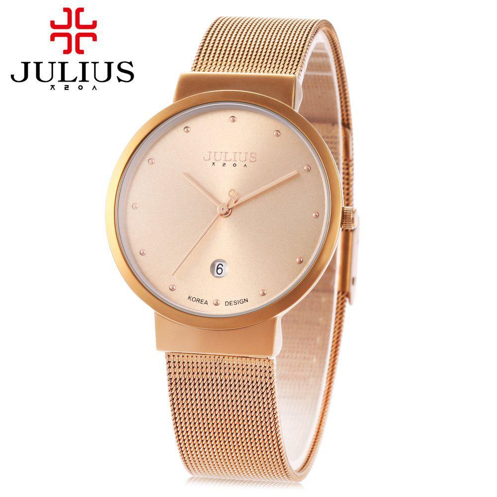 Julius JA - 426M Male Ultrathin Stainless Steel Mesh Band Quartz Wrist Watch - COFFEE