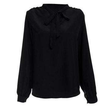 Buy Stylish V-neck Long Sleeve Pure Color Bust Bow Tie Design Women Blouse BLACK