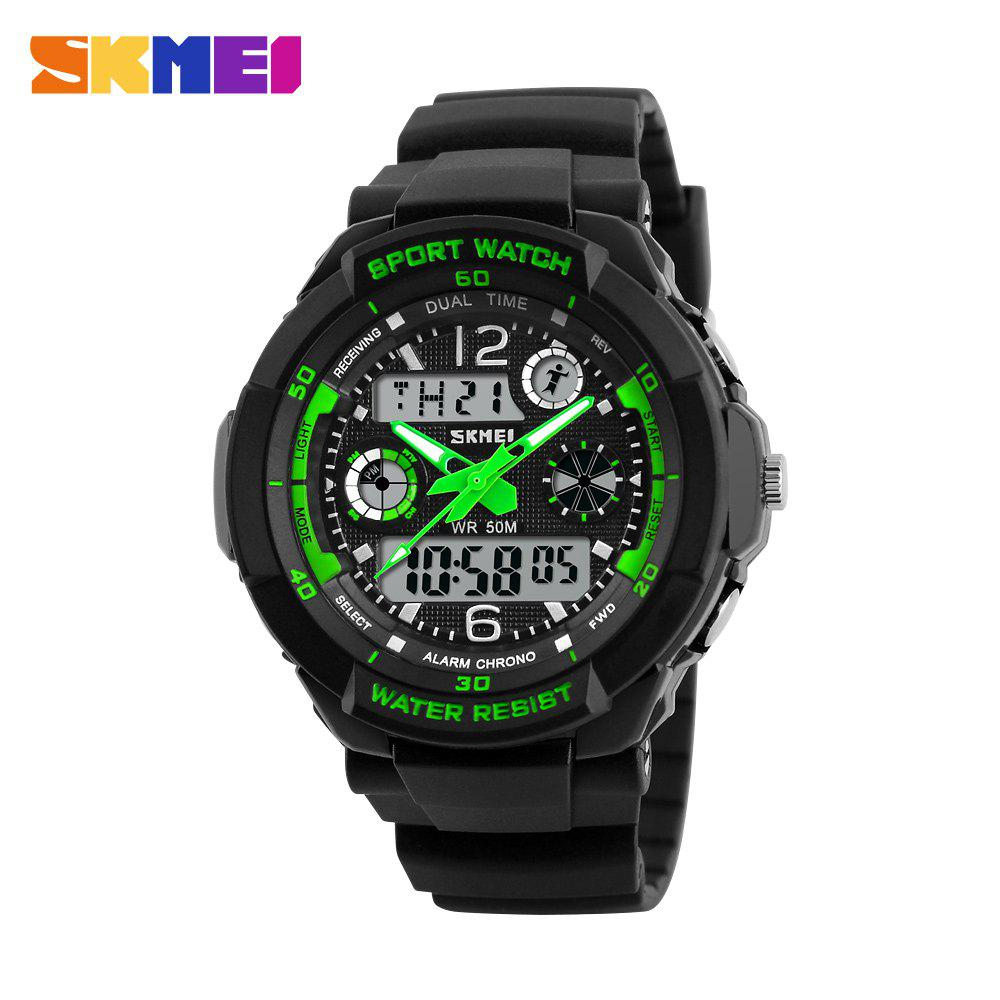 Skmei 1060  Green LED Military Watch with 2 Time Zone Chronograph Double Movts and Round Dial skmei blue led watch with round dial silicon watch band