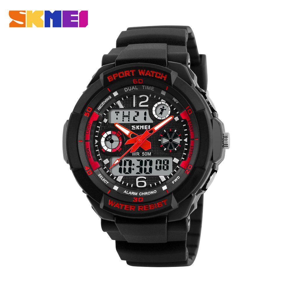 Skmei 1060 Green LED Military Watch with 2 Time Zone Chronograph Double Movts and Round Dial - RED SIZE S