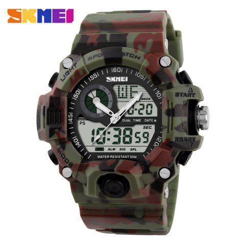 Skmei 1029 Army LED Dual-movt Wristwatch Week Date Stopwatch 5ATM Water Resistant Military Watch for Sports - CAMOUFLAGE